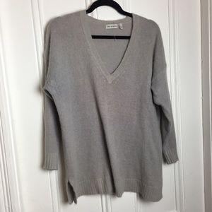 525 America gray angora blend v neck sweater